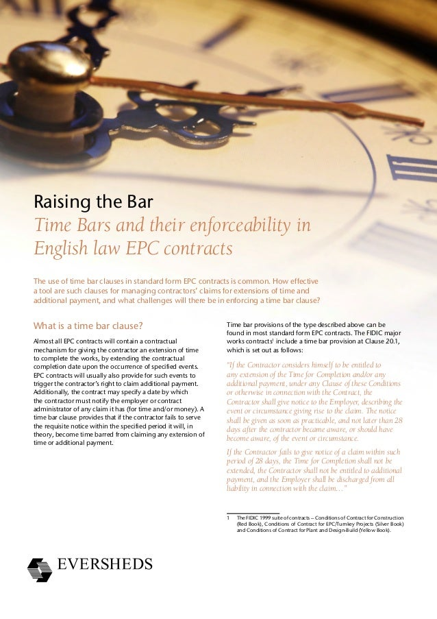 Time Bars and their enforceability in English law EPC contracts