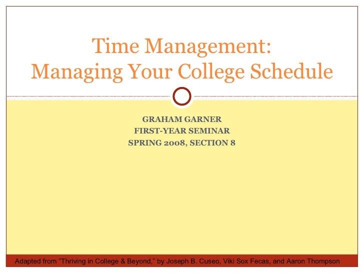 Time Management Fys Spring 2008