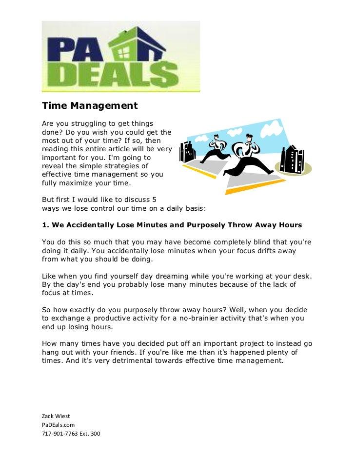 Time Management PADeals
