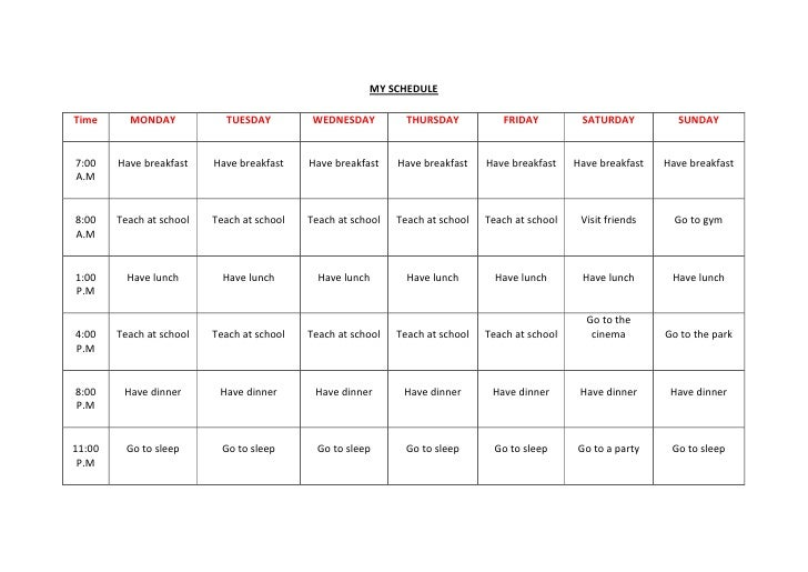 Time... schedule