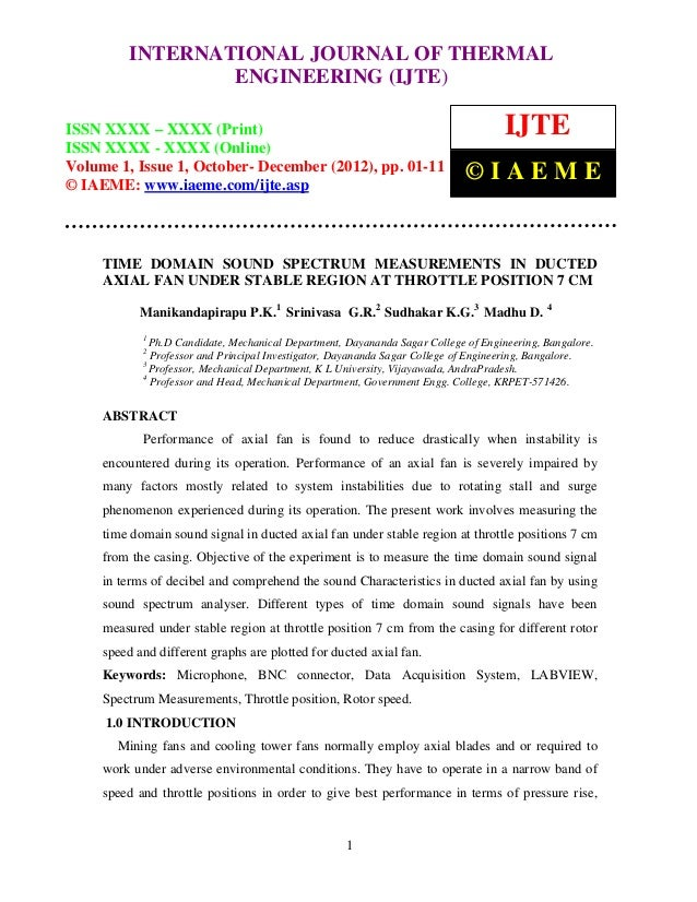 INTERNATIONAL JOURNAL OF THERMAL     International Journal of Thermal Engineering (IJTE), ISSN XXXX – XXXX (Print), ISSN  ...