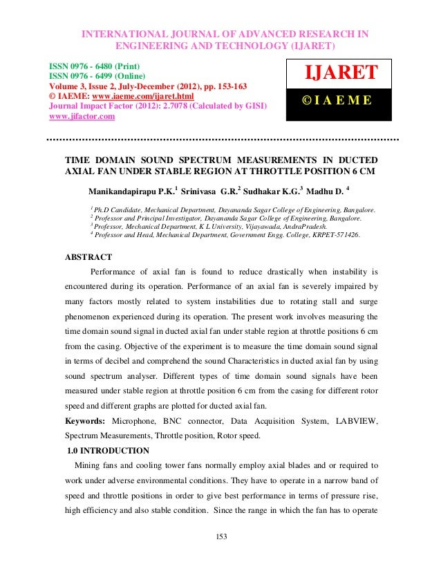 Time domain sound spectrum measurements in ducted axial fan under stable region at throttle position 6 cm