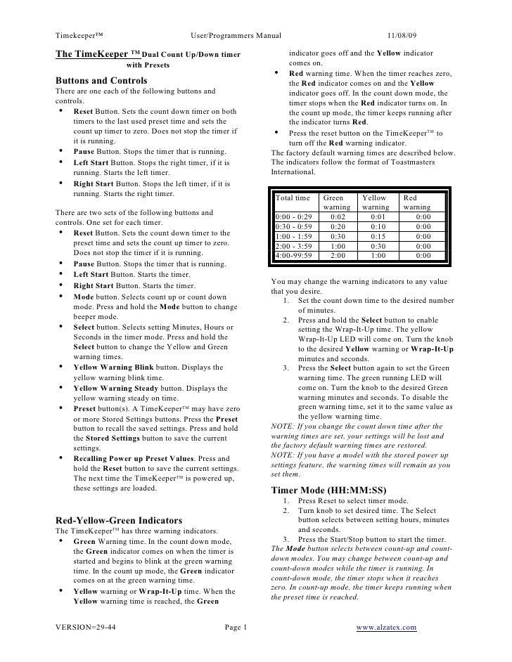 Timekeeper™                             User/Programmers Manual                                11/08/09  The TimeKeeper TM...