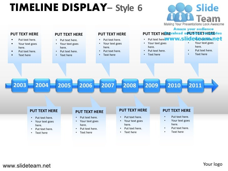 Timeline display design 6 powerpoint presentation slides.
