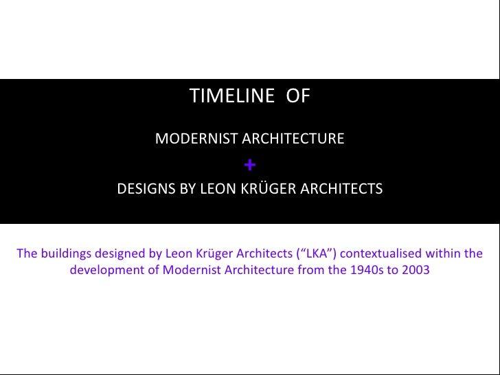 Timeline Of Modernist Architecture 30.11.2009