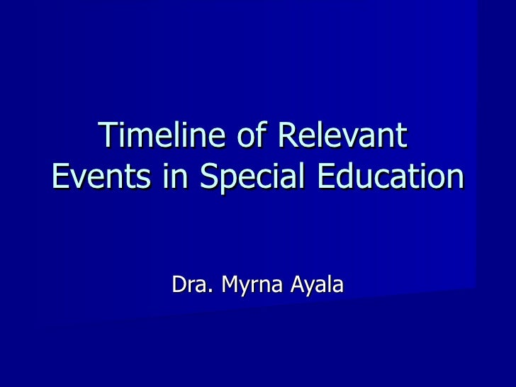 Timeline of Relevant  Events in Special Education Dra. Myrna Ayala