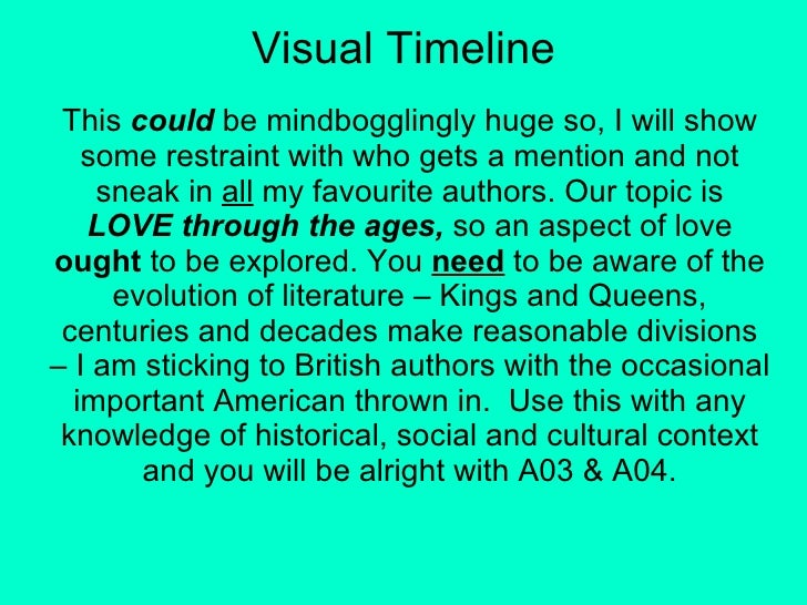 Visual Timeline This  could  be mindbogglingly huge so, I will show some restraint with who gets a mention and not sneak i...