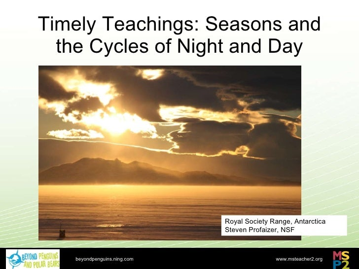 Timely Teachings: Seasons and the Cycles of Night and Day beyondpenguins.ning.com Royal Society Range, Antarctica Steven P...