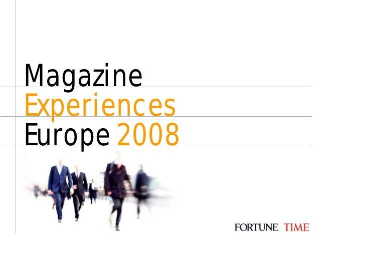 Magazine Experiences Europe 2008