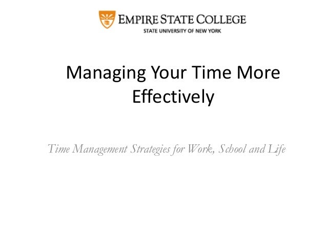 Managing Your Time More Effectively Time Management Strategies for Work, School and Life