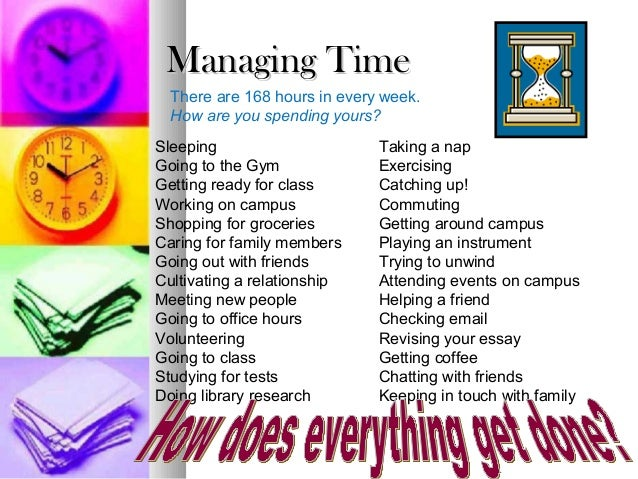 Managing Time  There are 168 hours in every week.  How are you spending yours?Sleeping                      Taking a napGo...