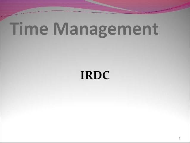 Time Management       IRDC                  1