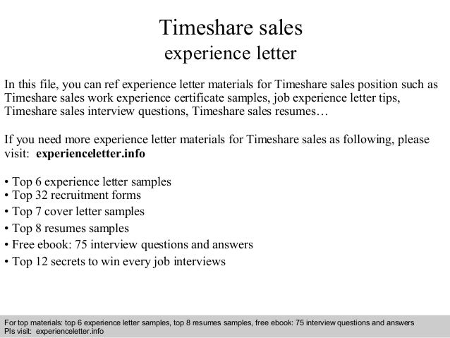 timeshare sales experience letter