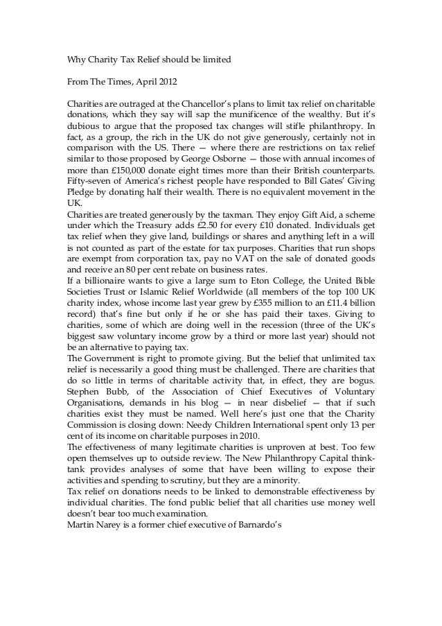 Times tax r elief charities april 2012