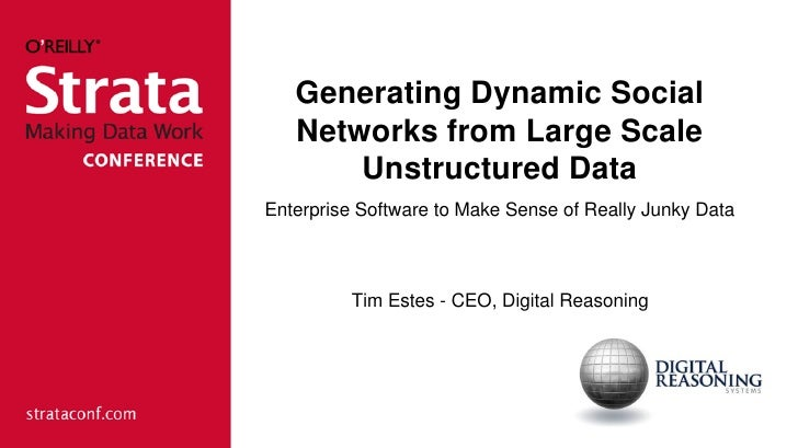 Generating Dynamic Social   Networks from Large Scale       Unstructured DataEnterprise Software to Make Sense of Really J...