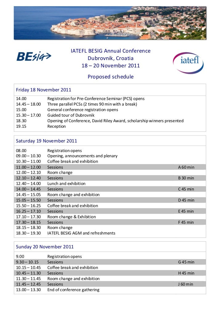Timetable 2011 IATEFL BESIG Annual Conference