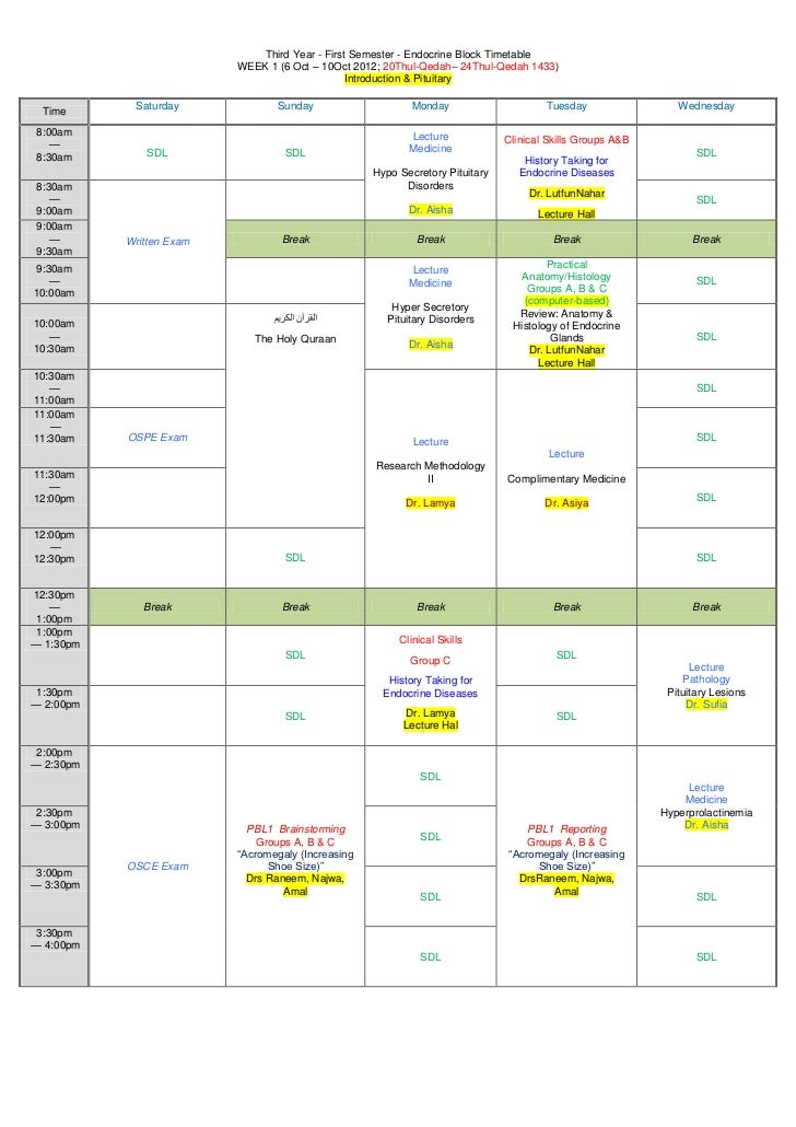 Third Year - First Semester - Endocrine Block Timetable                          WEEK 1 (6 Oct – 10Oct 2012; 20Thul-Qedah–...