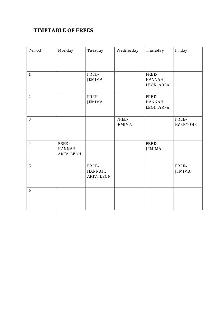 Timetable Of Frees