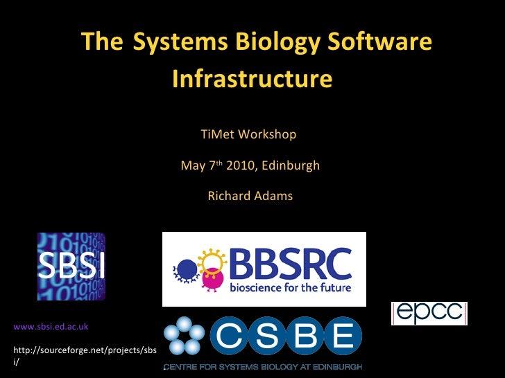 The   Systems Biology Software Infrastructure TiMet Workshop  May 7 th  2010, Edinburgh Richard Adams www.sbsi.ed.ac.uk ht...