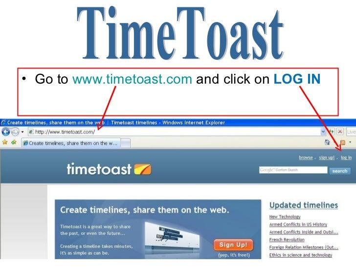 <ul><li>Go to  www.timetoast.com  and click on  LOG IN </li></ul>TimeToast