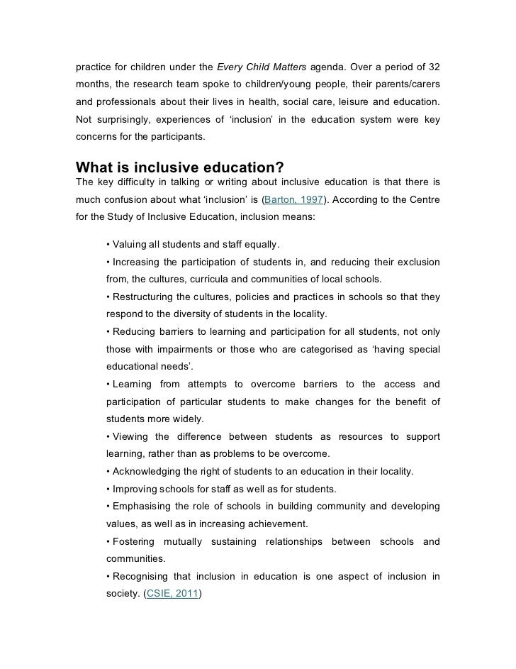 short essay on inclusive education This is a repository copy of the right to inclusive education: why is there so much   opportunities for disabled children, 5 but stopped short of providing   peoples heard essays on human rights in honour of gudmundur alfredsson.