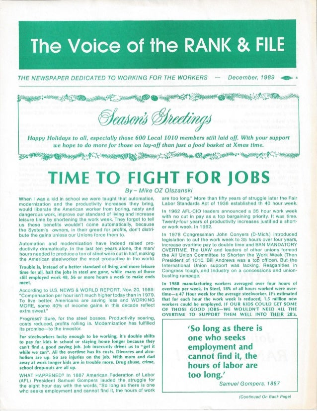 Time to Fight for Jobs in Voice of the Rank & File 1989 a
