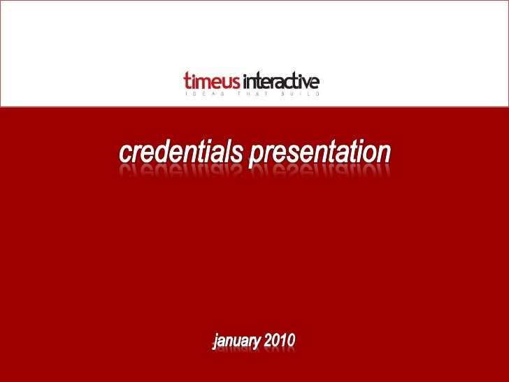 Timeus Interactive Credentials Presentation Nov09