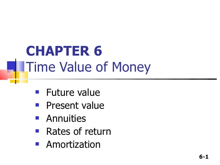 CHAPTER 6 Time Value of Money <ul><li>Future value </li></ul><ul><li>Present value </li></ul><ul><li>Annuities </li></ul><...