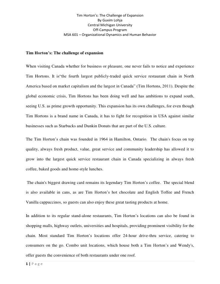 tim hortons resume example