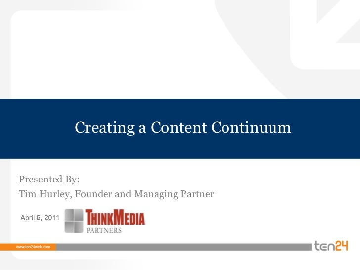 Creating a Content Continuum<br />Presented By:<br />Tim Hurley, Founder and Managing Partner <br />