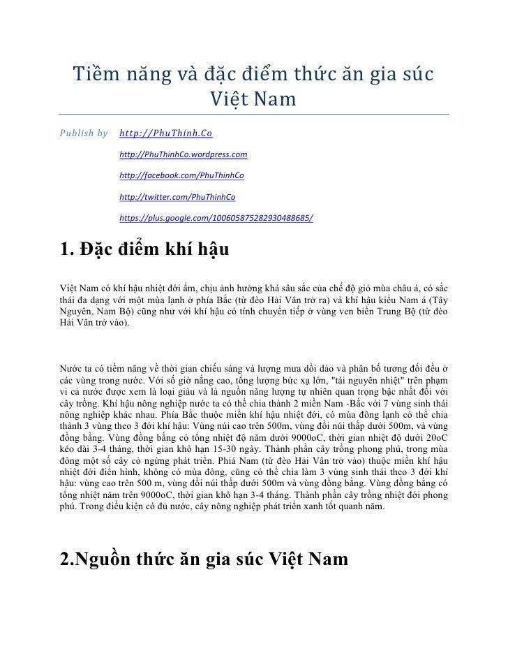 Tiềm năng vă đăc điềm thức ăn giă suc                 Viềt NămPublish by    http://PhuThinh.Co              http://PhuThin...