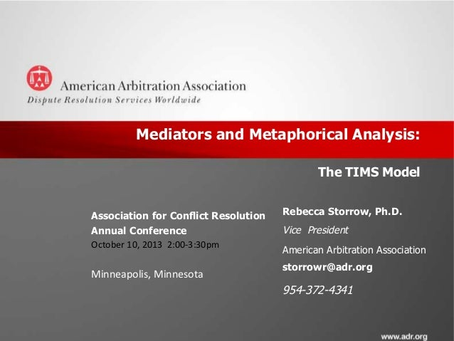 Mediators and Metaphorical Analysis: The TIMS Model Association for Conflict Resolution Annual Conference October 10, 2013...