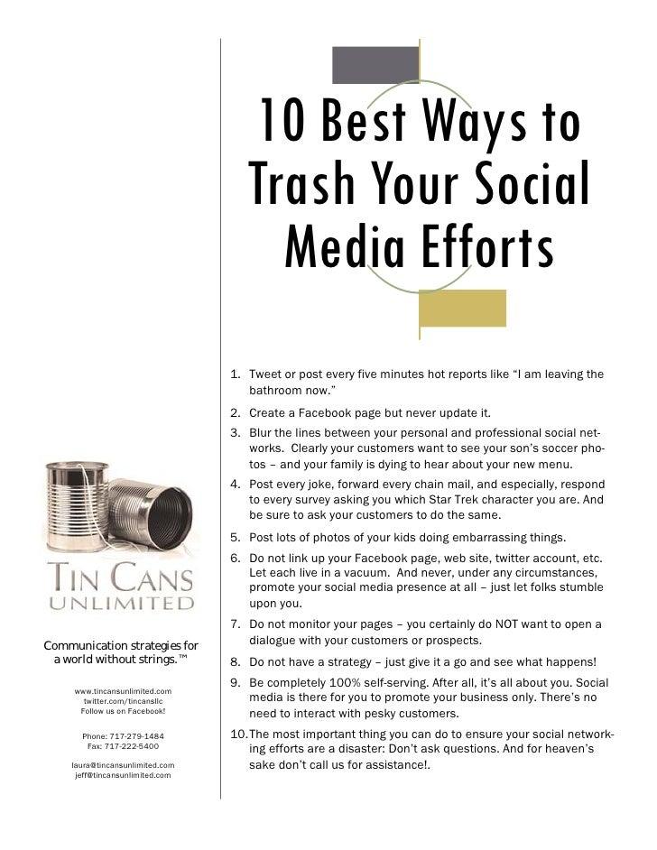 Ten Ways to Trash Your Social Media Efforts