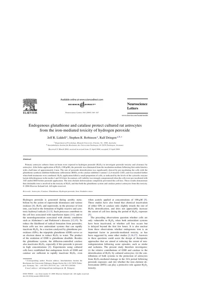 Ting Endogenous Glutathione And Catalase Protect Cultured Rat Astrocytes From The Iron Mediated Toxicity Of Hydrogen Peroxide