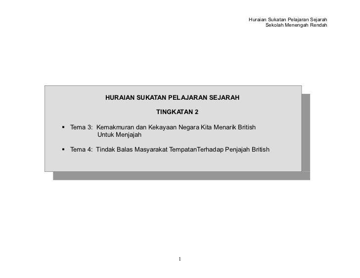 Huraian Sukatan Pelajaran Sejarah                                                                   Sekolah Menengah Renda...