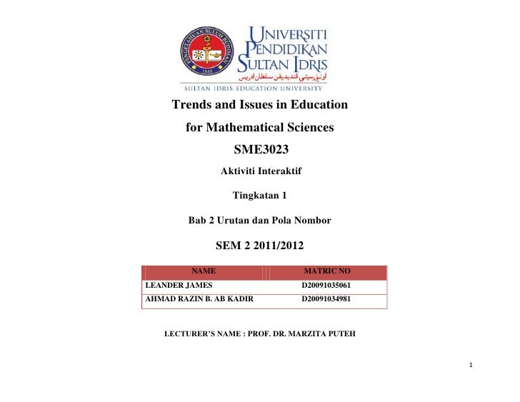 Trends and Issues in Education        for Mathematical Sciences                   SME3023                Aktiviti Interakt...