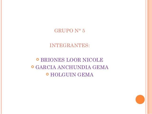 GRUPO N° 5 INTEGRANTES: BRIONES LOOR NICOLE  GARCIA ANCHUNDIA GEMA  HOLGUIN GEMA 