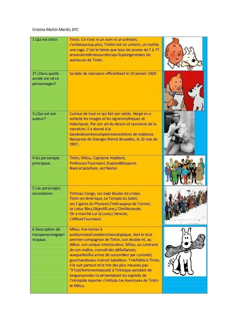 Cristina Martín Martín, 6ºC1 Qui est tintin     Tintin. Ce nest ni un nom ni un prénom,                     cestbeaucoup p...