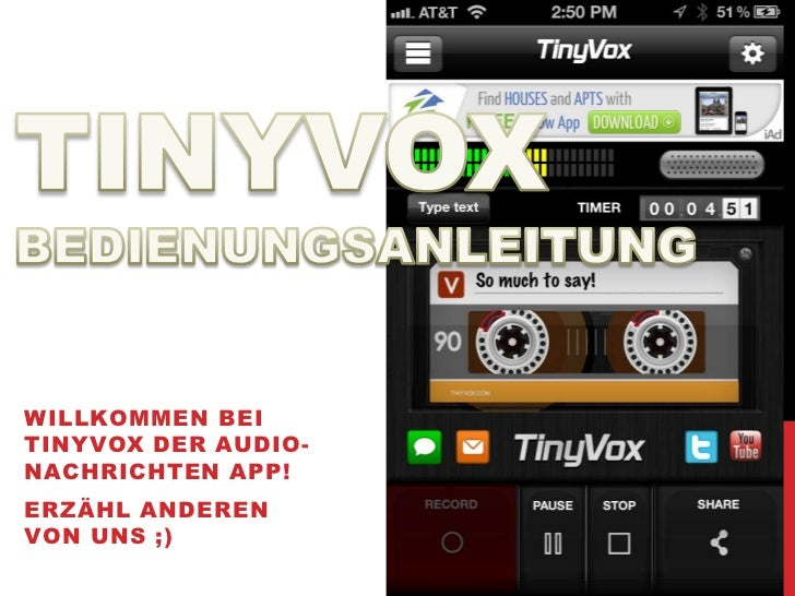 TINYVOX bedienungsanleitung    deutsch