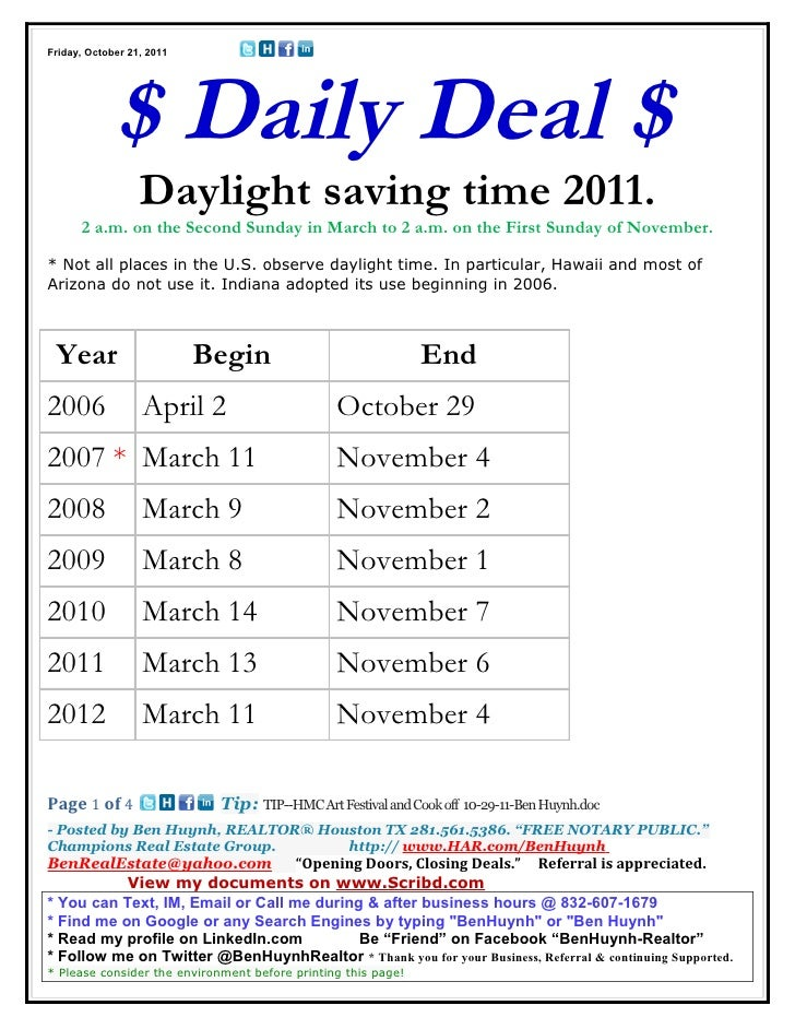 Friday, October 21, 2011             $ Daily Deal $                  Daylight saving time 2011.      2 a.m. on the Second ...