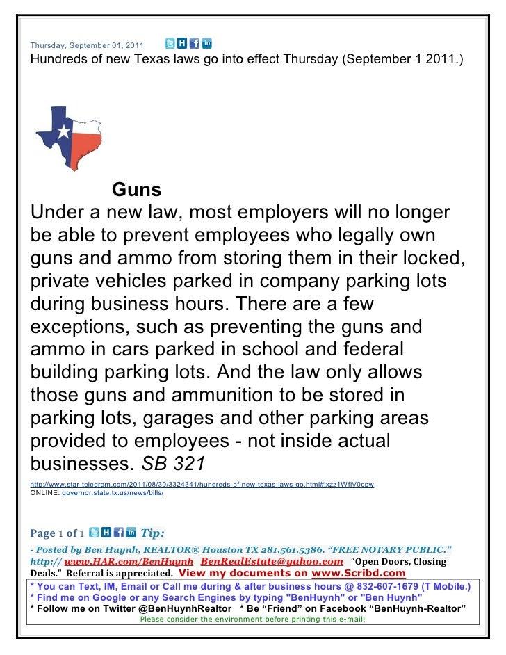 Thursday, September 01, 2011Hundreds of new Texas laws go into effect Thursday (September 1 2011.)          GunsUnder a ne...