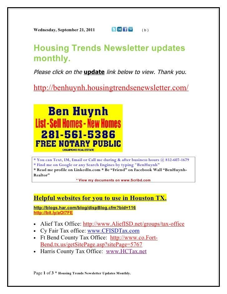 Wednesday, September 21, 2011                              (b)Housing Trends Newsletter updatesmonthly.Please click on the...