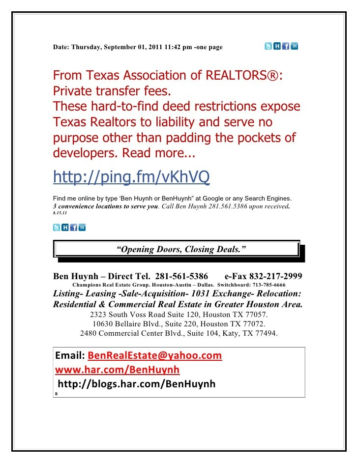 Date: Thursday, September 01, 2011 11:42 pm -one pageFrom Texas Association of REALTORS®:Private transfer fees.These hard-...