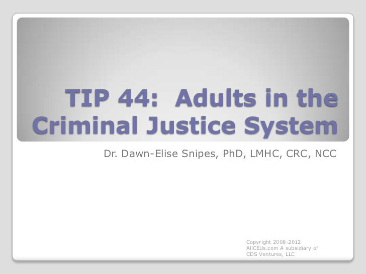 TIP 44:  Adults in the Criminal Justice System<br />Dr. Dawn-Elise Snipes, PhD, LMHC, CRC, NCC<br />Copyright 2008-2012 Al...