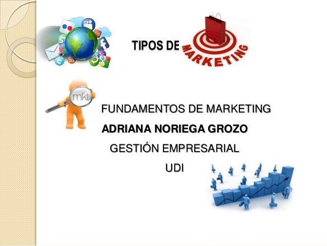 TIPOS DE FUNDAMENTOS DE MARKETING ADRIANA NORIEGA GROZO GESTIÓN EMPRESARIAL UDI