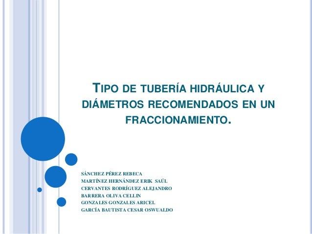 TIPO DE TUBERÍA HIDRÁULICA YDIÁMETROS RECOMENDADOS EN UN       FRACCIONAMIENTO.SÁNCHEZ PÉREZ REBECAMARTÍNEZ HERNÁNDEZ ERIK...