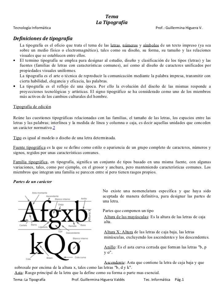 Tema                                               La TipografíaTecnología Informática                                    ...