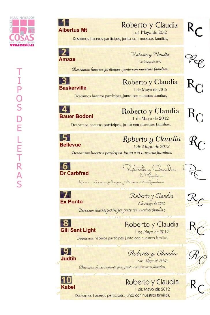 Tipos de letra - invitaciones de boda