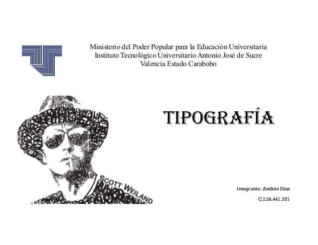 Ministerio del Poder Popular para la Educación Universitaria Instituto Tecnológico Universitario Antonio José de Sucre Val...