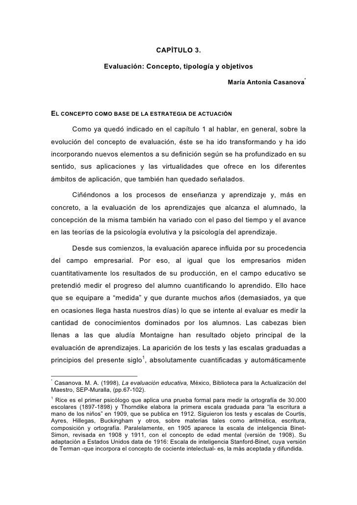 CAPÍTULO 3.                   Evaluación: Concepto, tipología y objetivos                                                 ...